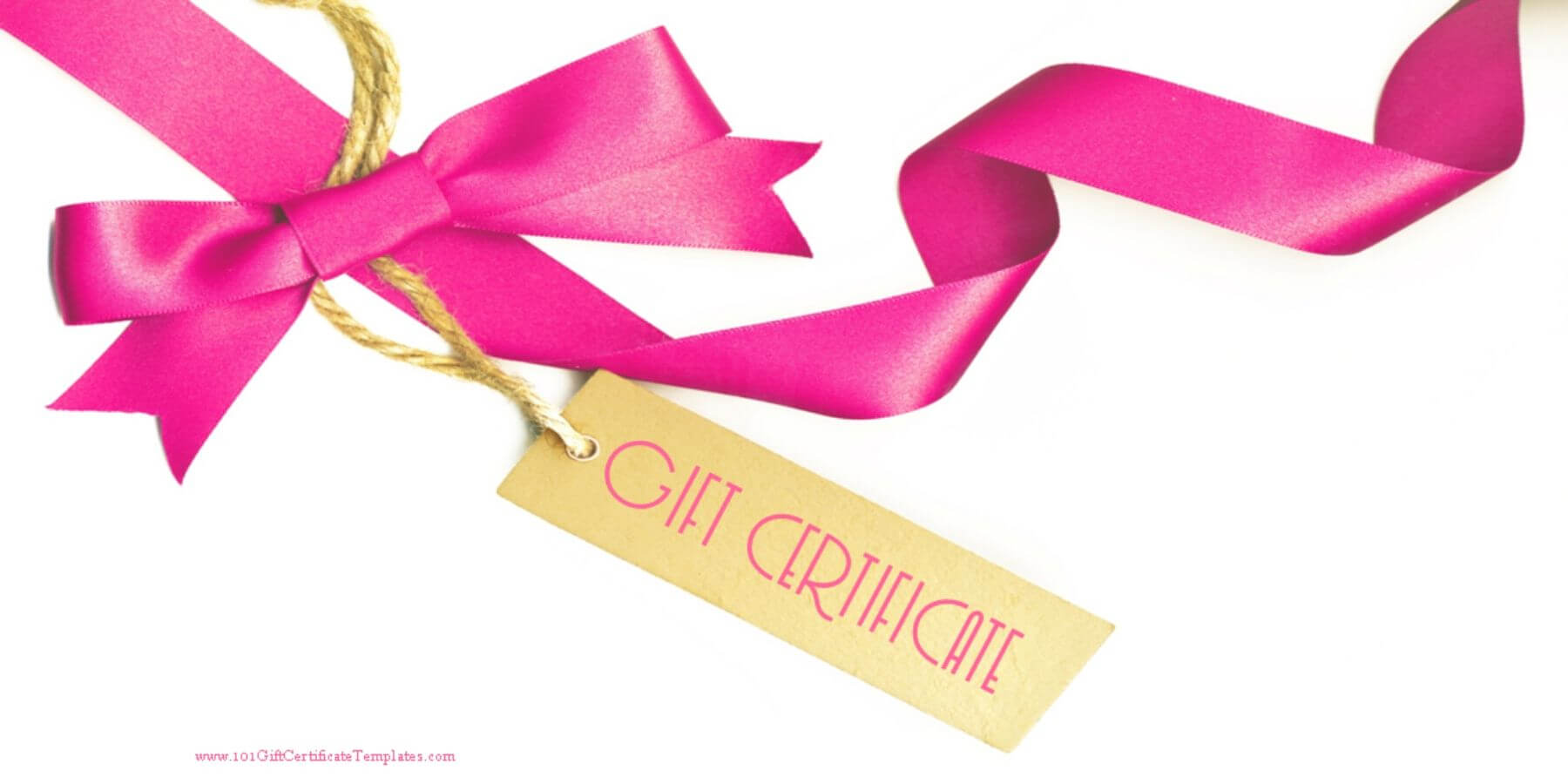 Gift Certificate With A White Background And A Pink Ribbon With Regard To Pink Gift Certificate Template