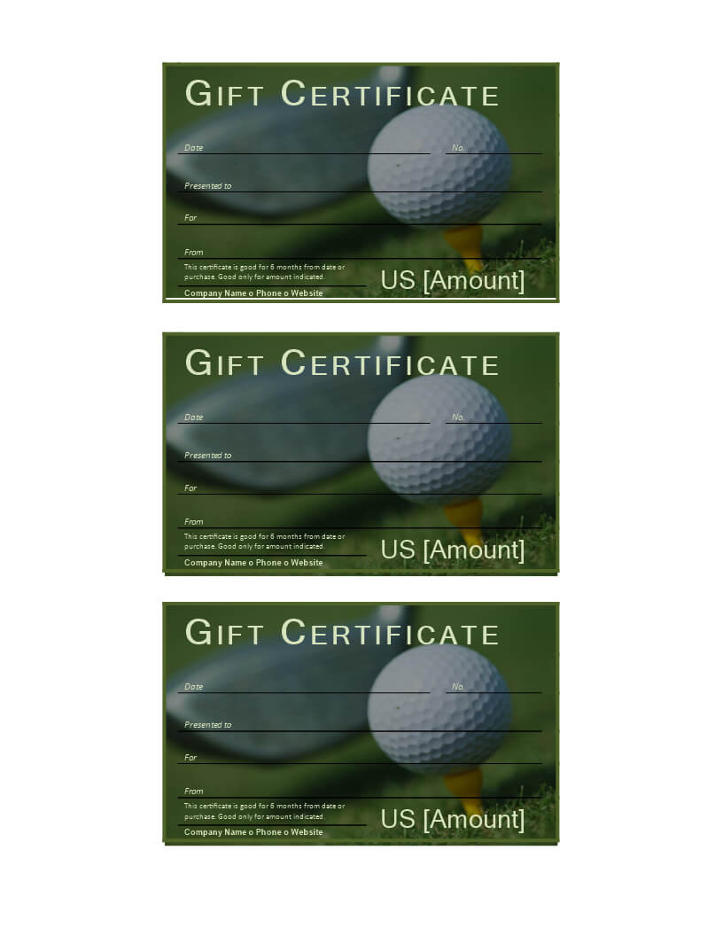 Golf Gift Certificate   Templates At Allbusinesstemplates Pertaining To Golf Certificate Template Free