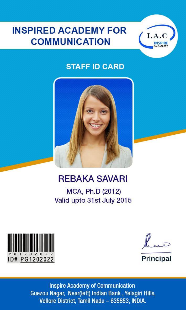 Id Card Designs | Id Card Template, School Id, Business Card Inside Pvc Card Template