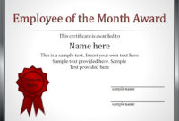 Impressive Employee Of The Month Award And Certificate Intended For Employee Of The Month Certificate Template With Picture