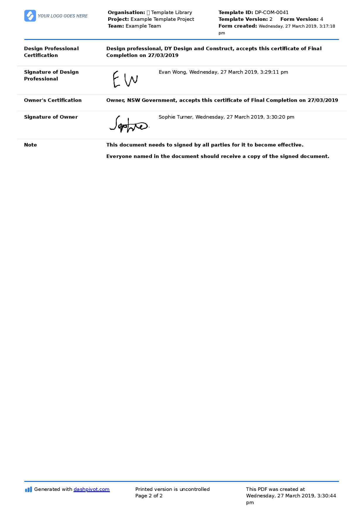 Letter Of Completion Of Work Sample (Use Or Copy For Yourself) In Practical Completion Certificate Template Uk
