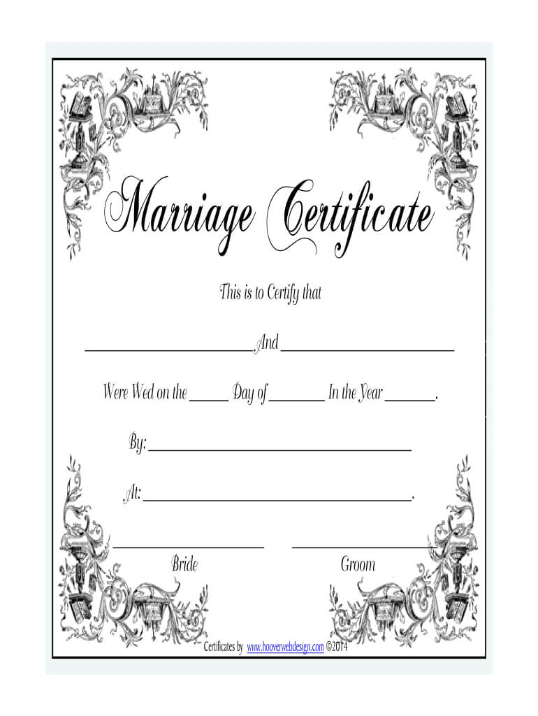 Marriage Certificate - Fill Online, Printable, Fillable With Blank Marriage Certificate Template