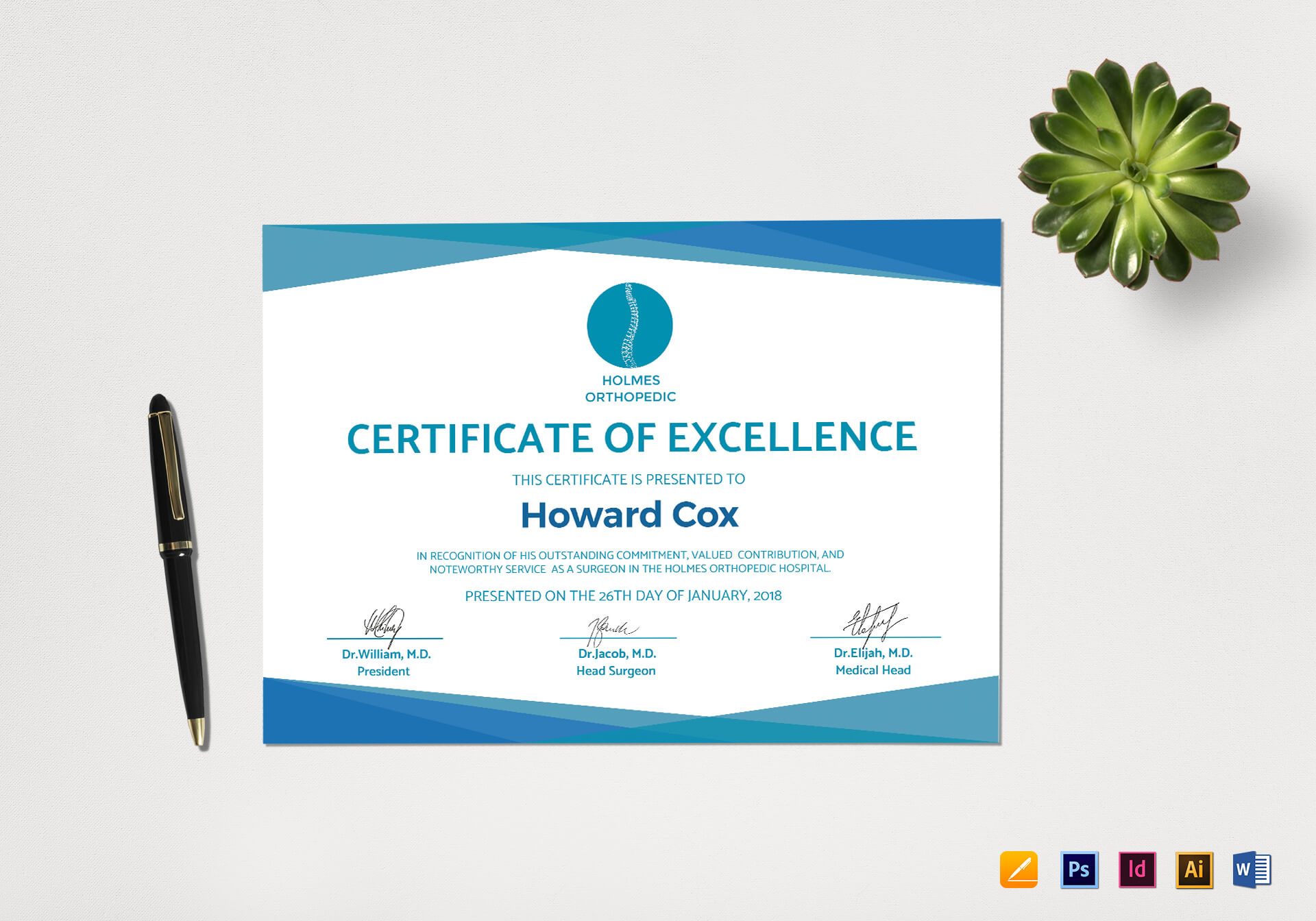 Medical Excellence Certificate Template Throughout Indesign Certificate Template