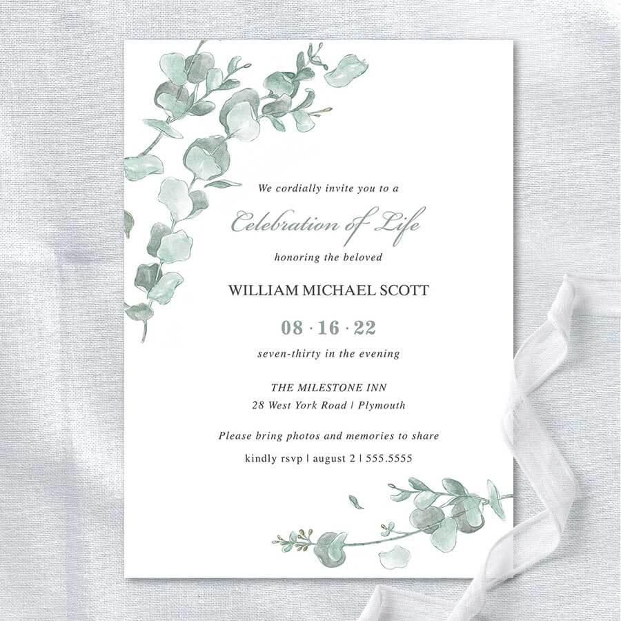 Memorial Service Invitation Templates Eucalyptus Greenery For Celebrate It Templates Place Cards