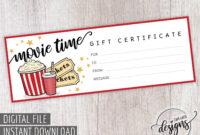 Movie Gift Certificate, Birthday Gift Certificate Printable for Movie Gift Certificate Template