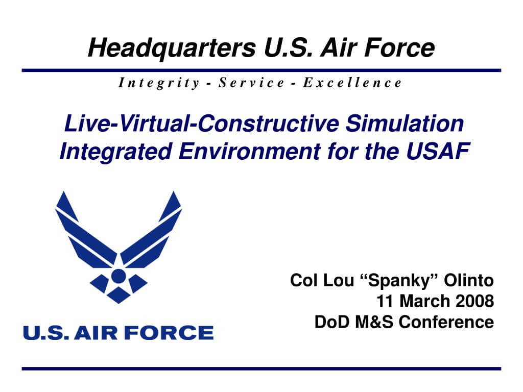 Ppt – Live Virtual Constructive Simulation Integrated In Air Force Powerpoint Template