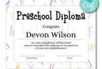 Preschool Diploma Certificate   Certificates   Printable throughout Hockey Certificate Templates