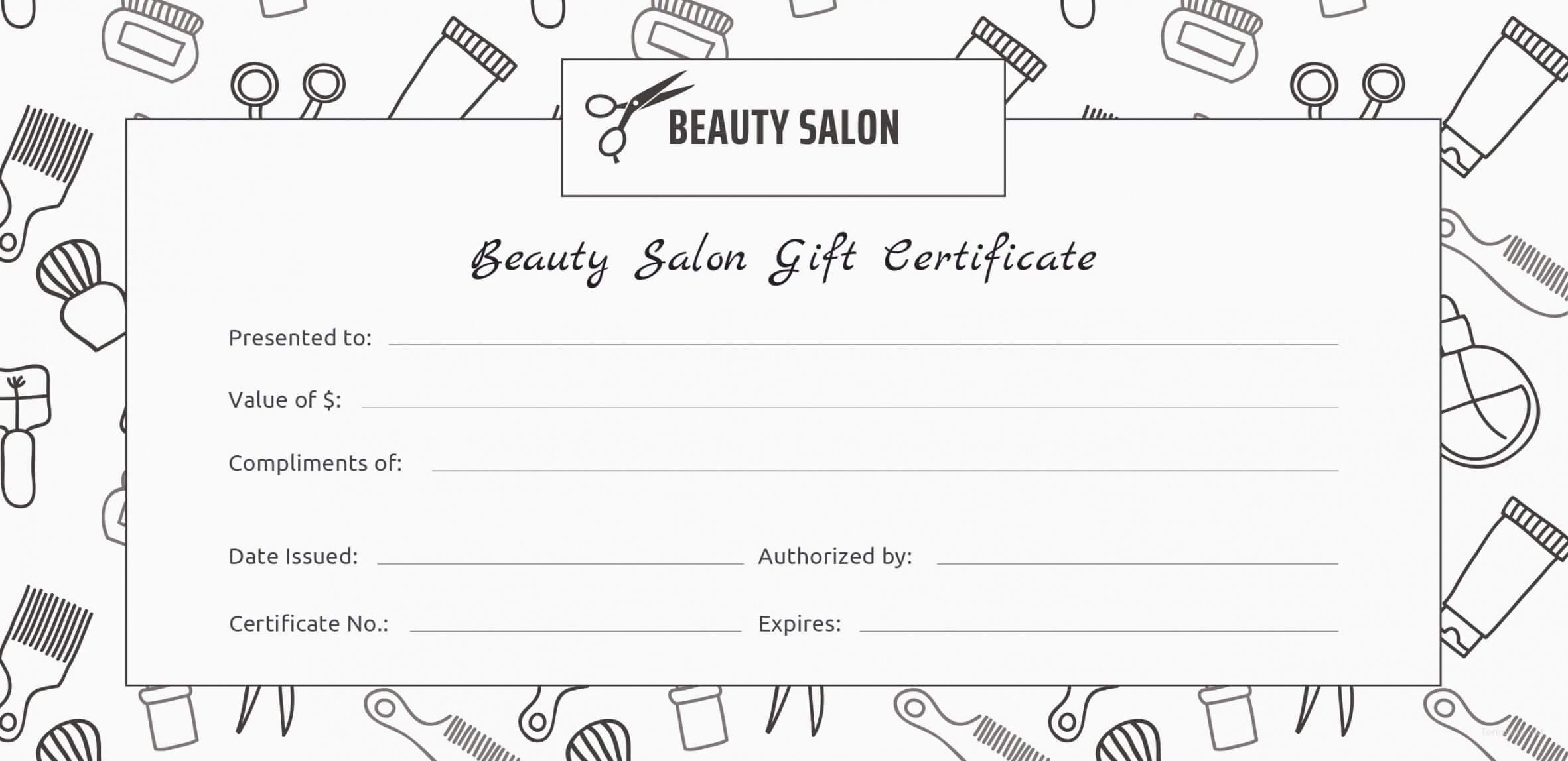 Printable Beauty Gift Certificate Template Koranstickenco Regarding Salon Gift Certificate Template