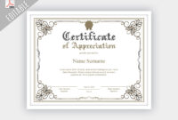 Printable Certificate Of Appreciation, Editable Certificate Regarding Update Certificates That Use Certificate Templates
