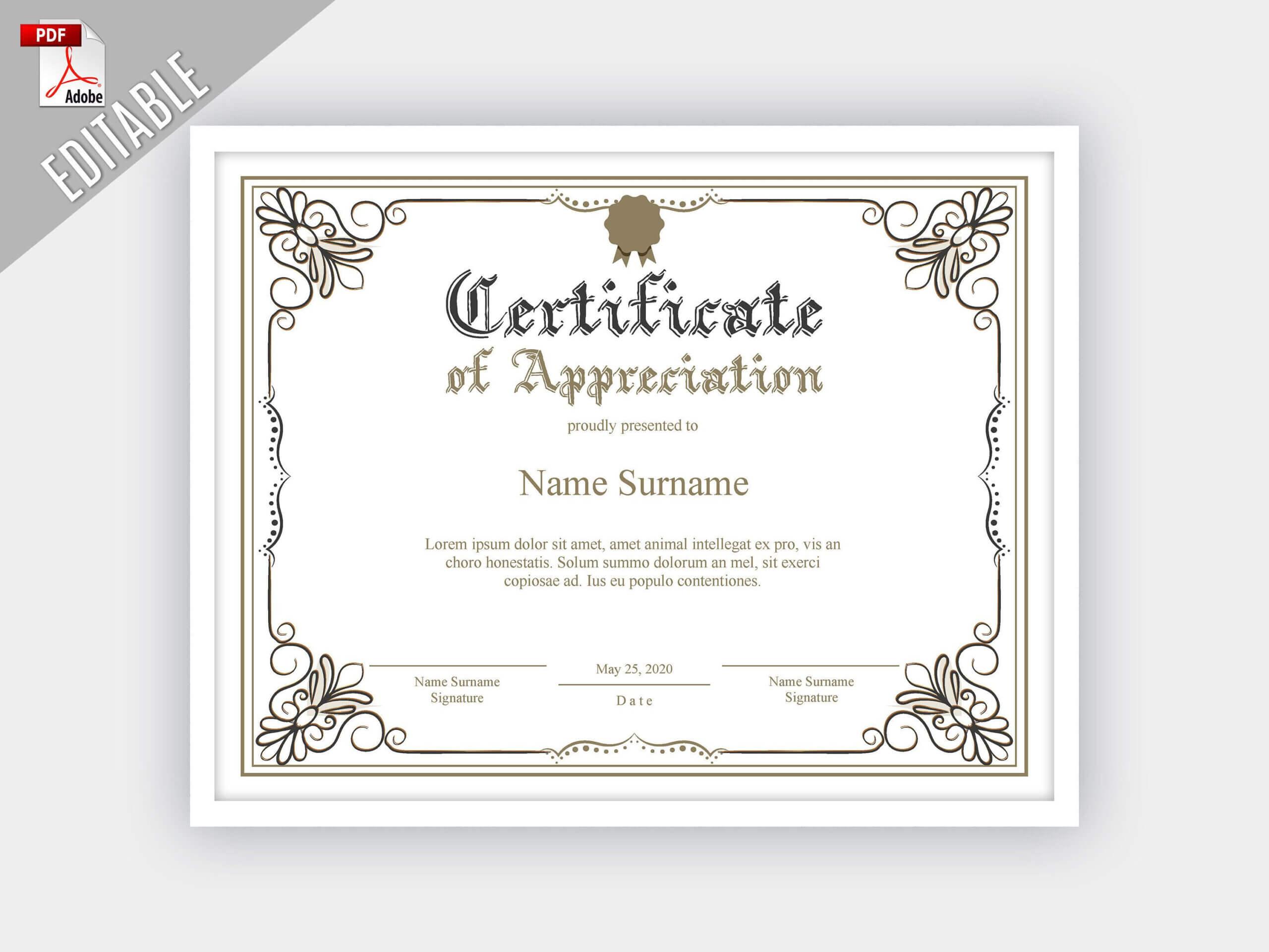 Printable Certificate Of Appreciation, Editable Certificate Regarding Update Certificates That Use Certificate Templates