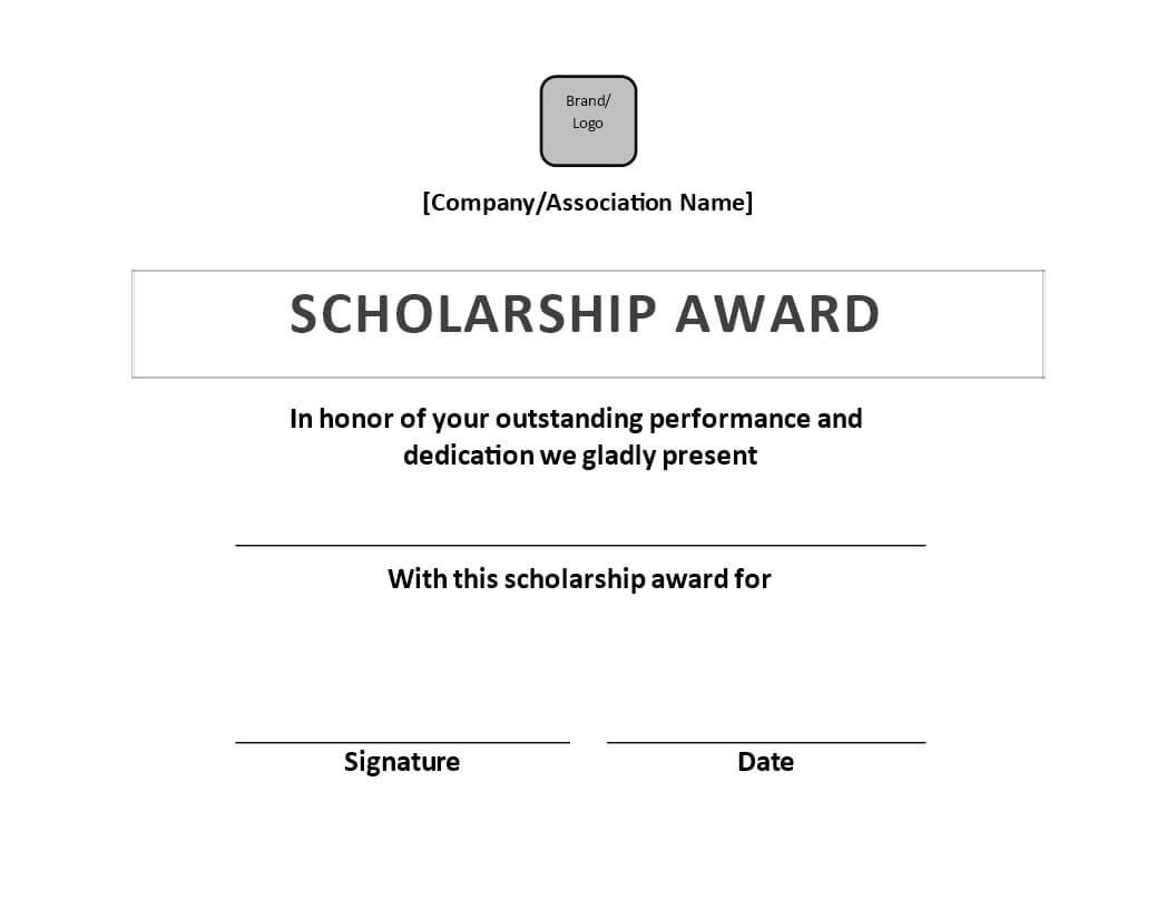 Scholarship Award Certificate Sample   Templates At Inside Scholarship Certificate Template