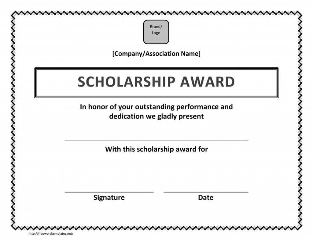 Scholarship Award Certificate Template   Certificate For Scholarship Certificate Template