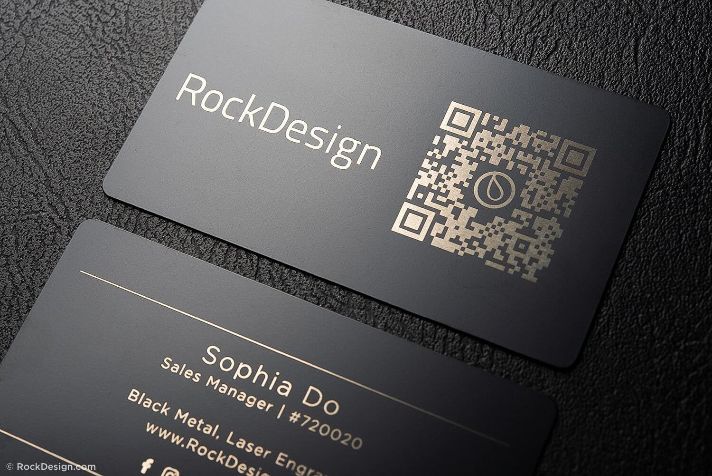 Simple Black Metal Business Cards – Sophia Do Regarding Qr Code Business Card Template