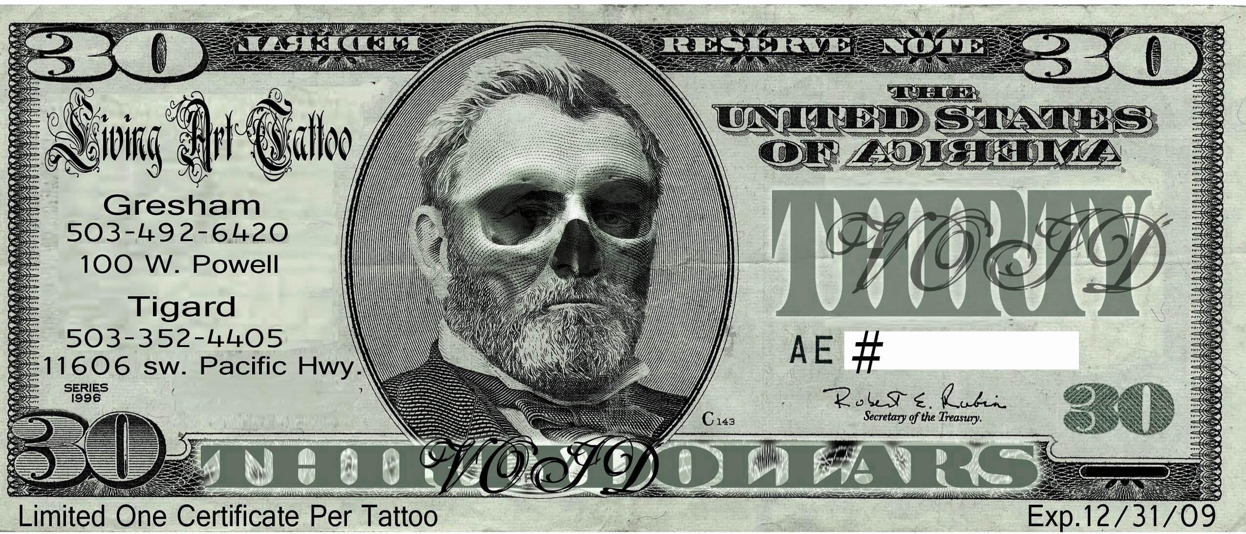 Tattoo Gift Voucher Template Free Dealssite Co Certificate In Tattoo Gift Certificate Template
