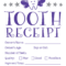 Tooth Receipt … | Tooth Fairy Certificate, Tooth Fairy Pertaining To Tooth Fairy Certificate Template Free