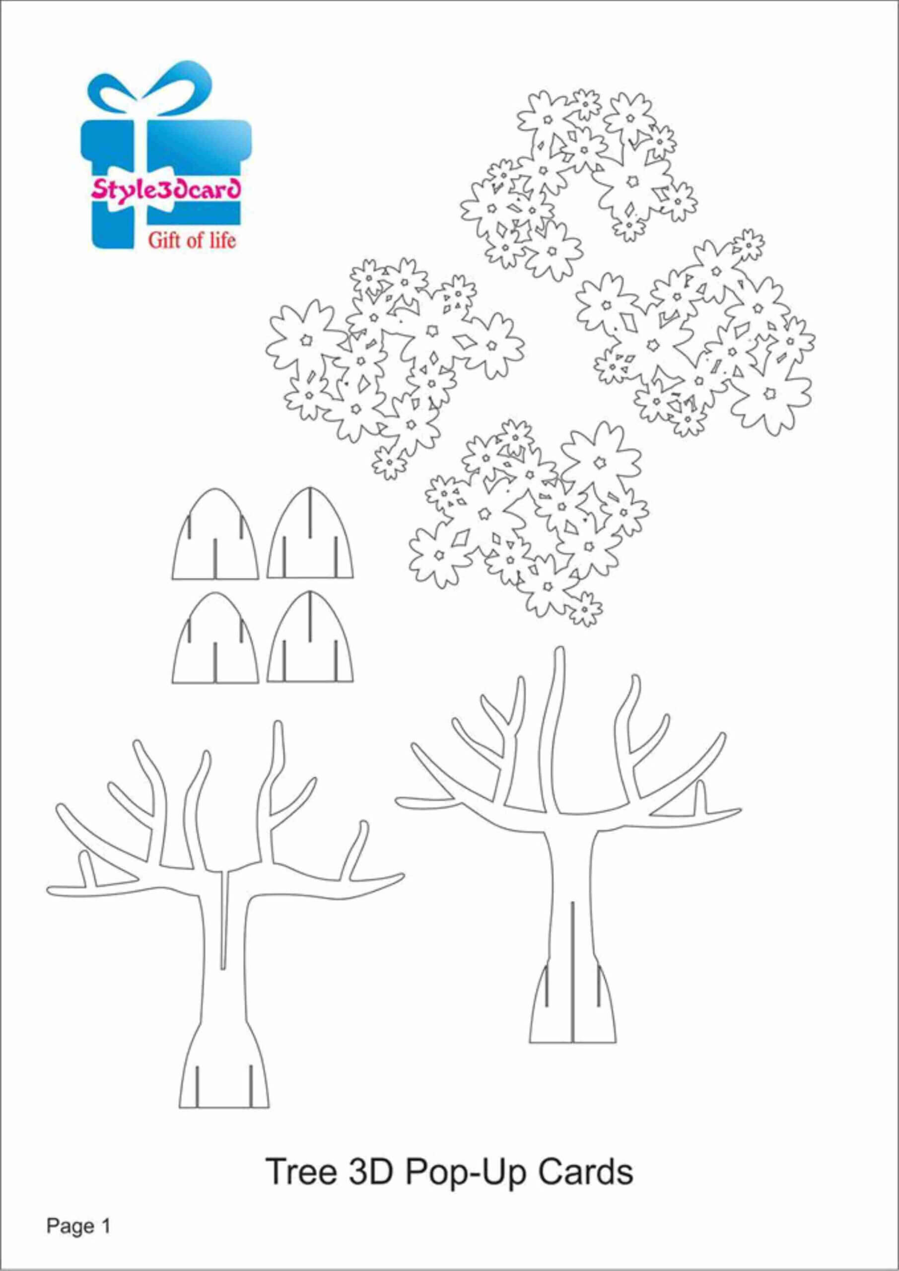 Tree 3D Pop Up Card/ Kirigami Pattern 1 | Pop Up Card In Pop Up Tree Card Template
