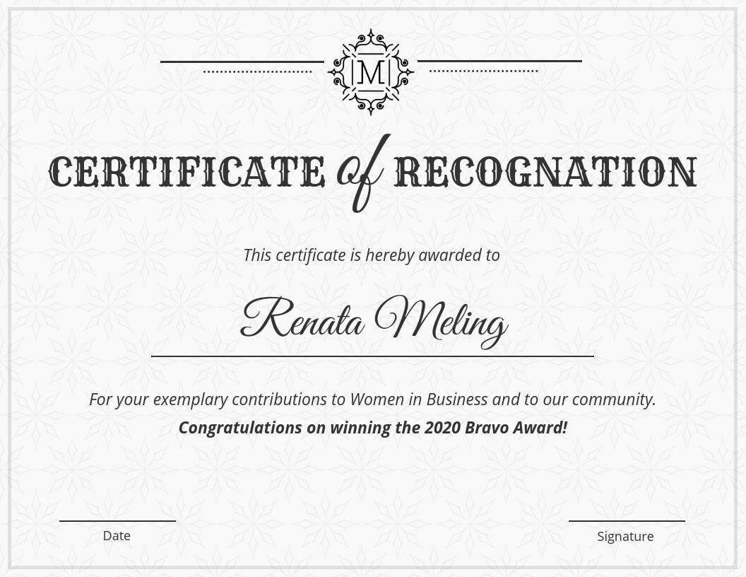 Vintage Certificate Of Recognition Template In Template For Certificate Of Award