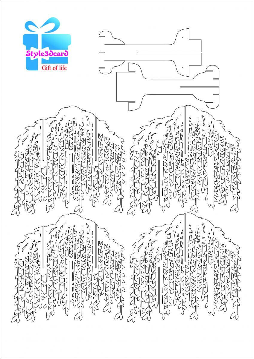 Willow Tree Pop Up Card/kirigami Pattern 1 | Kirigami For Pop Up Tree Card Template